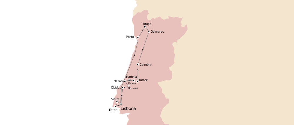 mappa itinerario tour portogallo classico